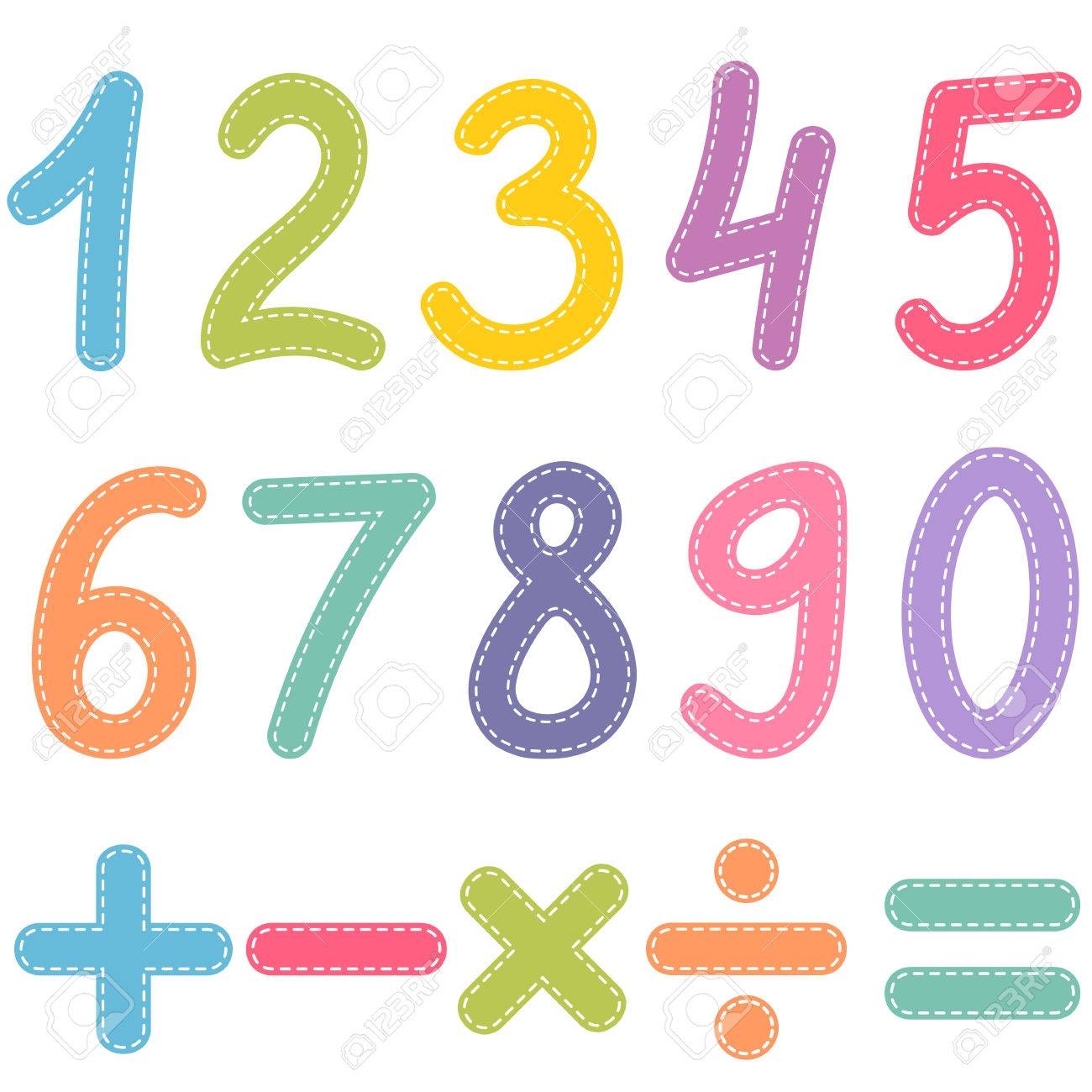 Numbers From Zero To Nine And Math Symbols Royalty Free Cliparts