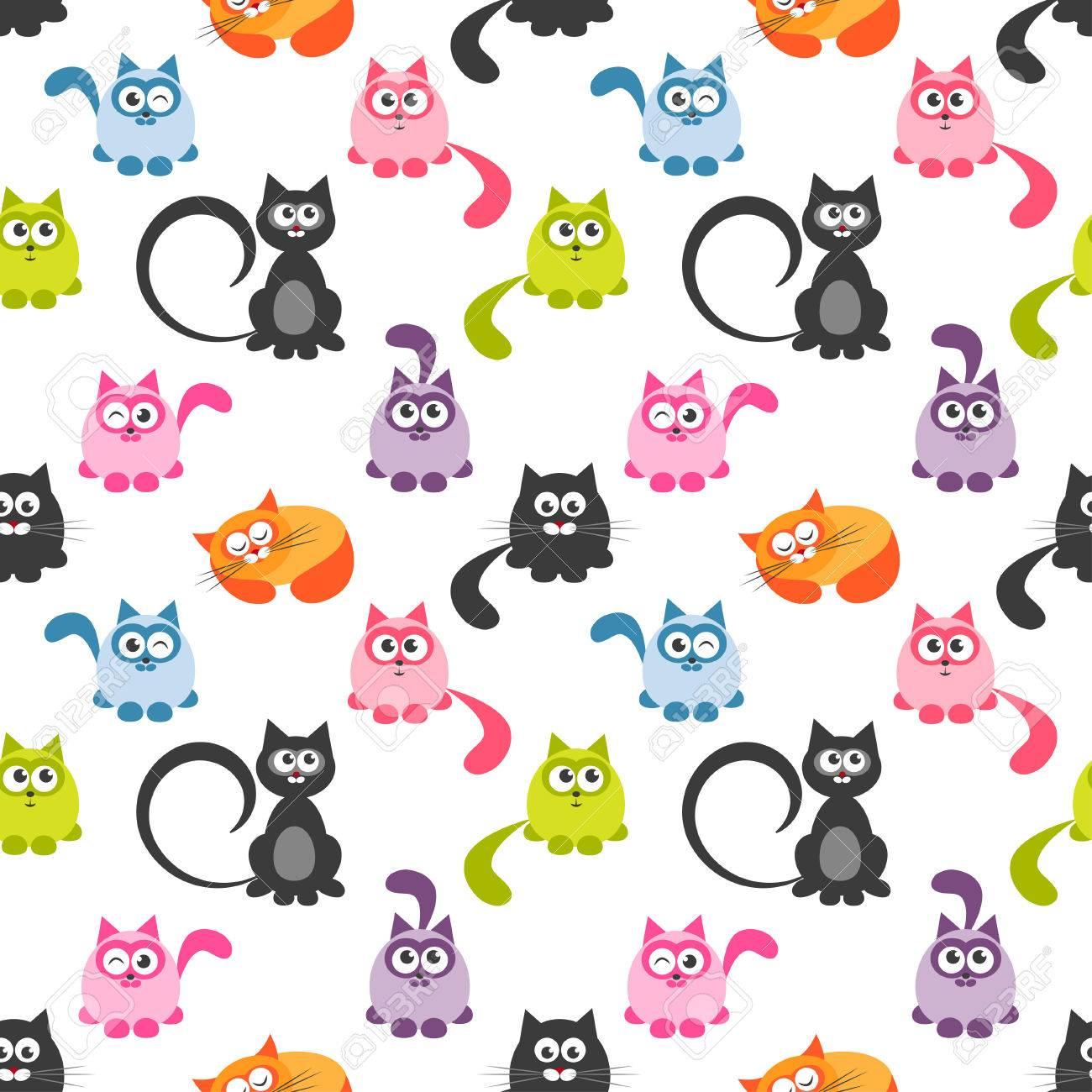 Patrón Sin Costuras Con Lindos Gatos Y Gatitos De Colores Fotos ...