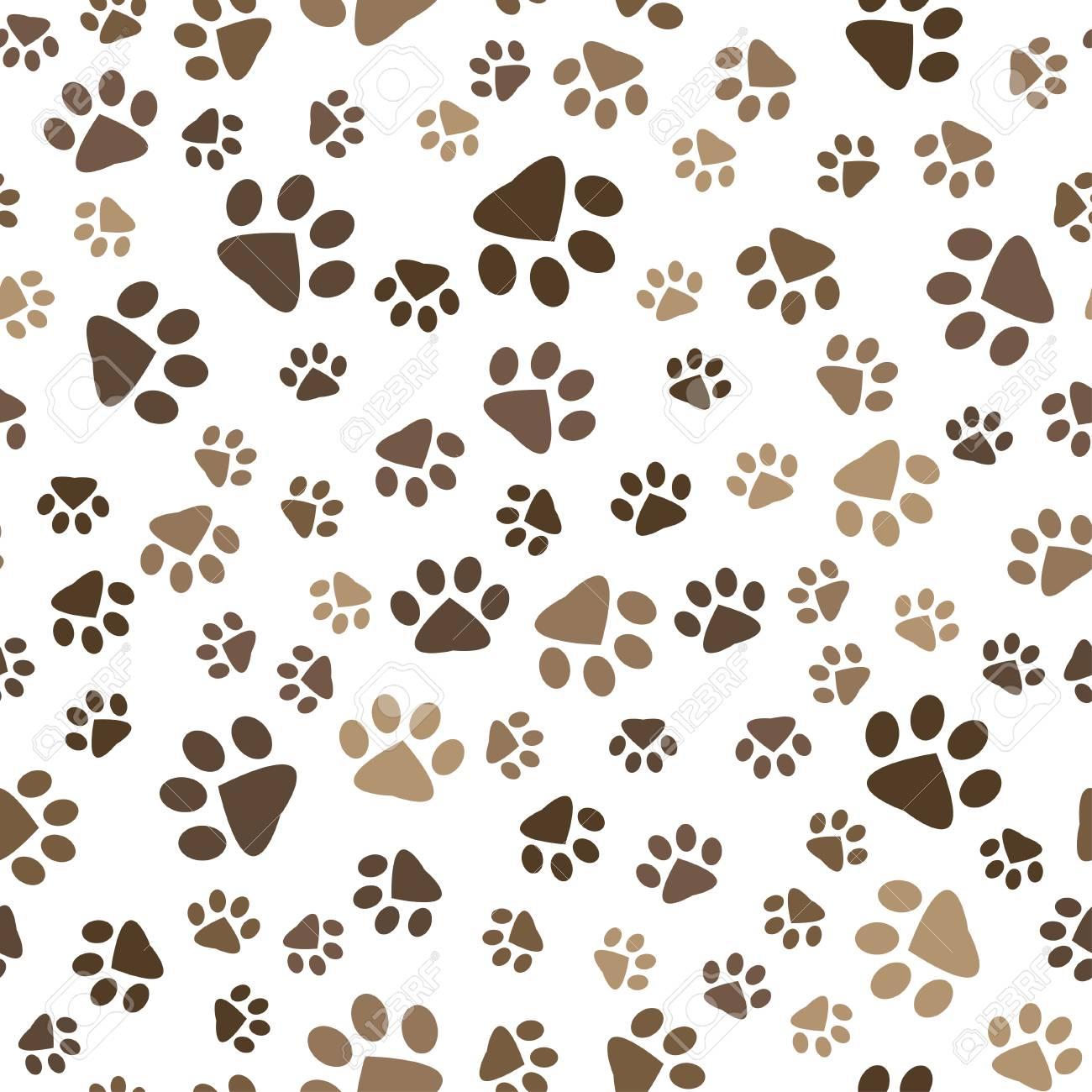 Patrón Sin Costuras Con Huellas De Perro Y Gato Marrón Ilustraciones ...