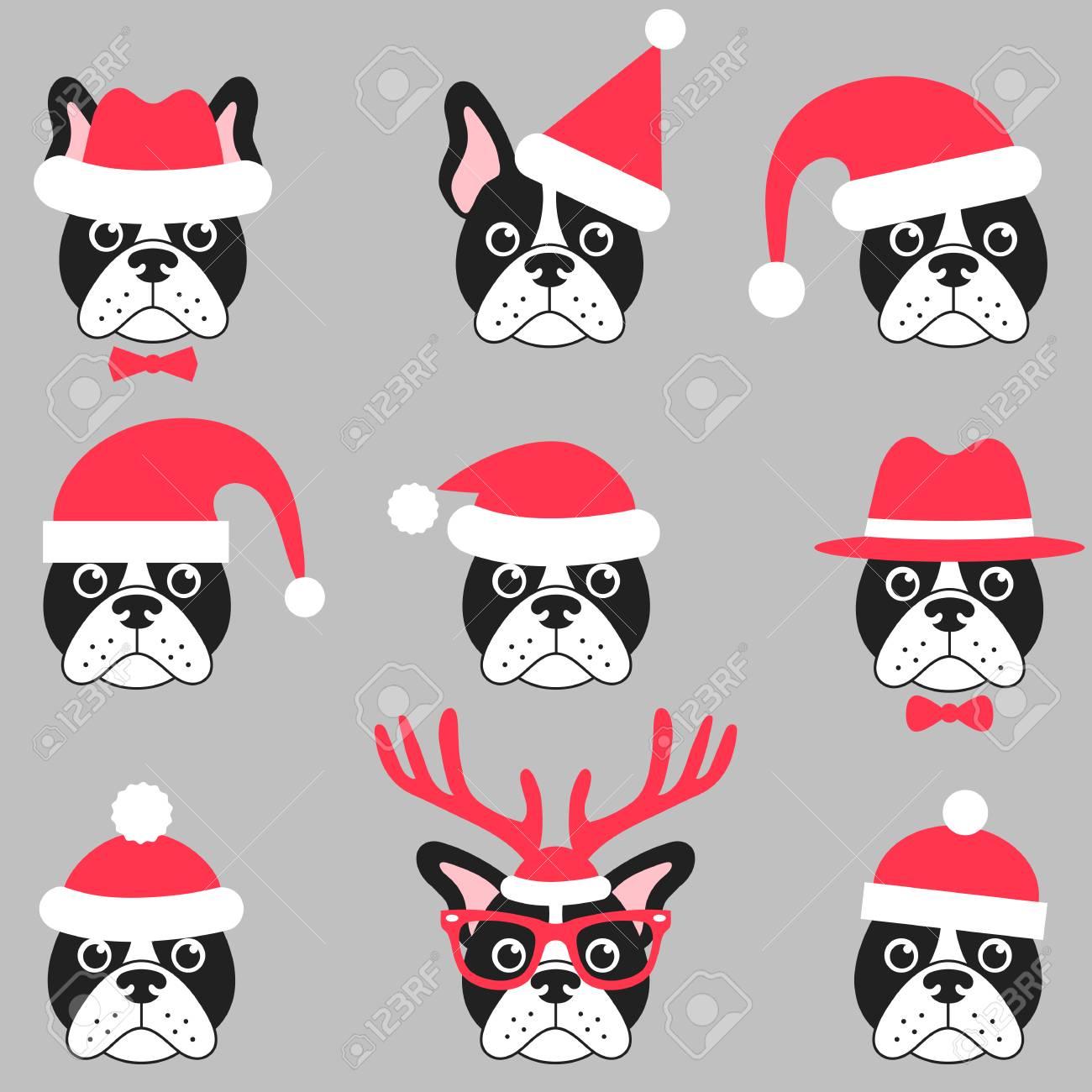 cute french bull dog with red santa hats royalty free cliparts rh 123rf com Cute Christmas Bulldogs English Bulldog Christmas