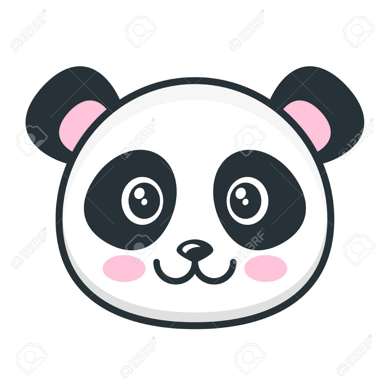 Cute panda face isolated on white - 108953289