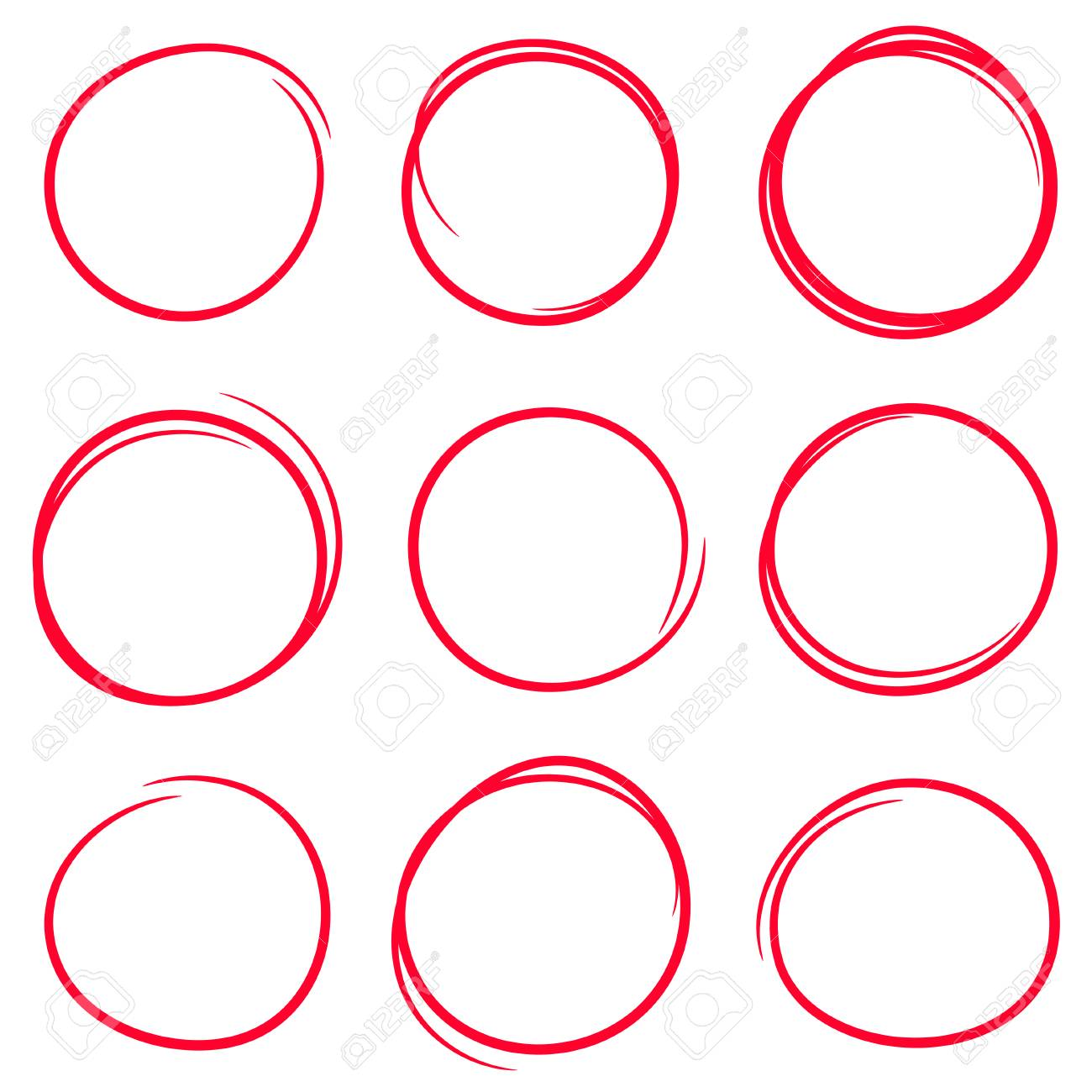 Set of red hand drawn scribble circles - 120188250