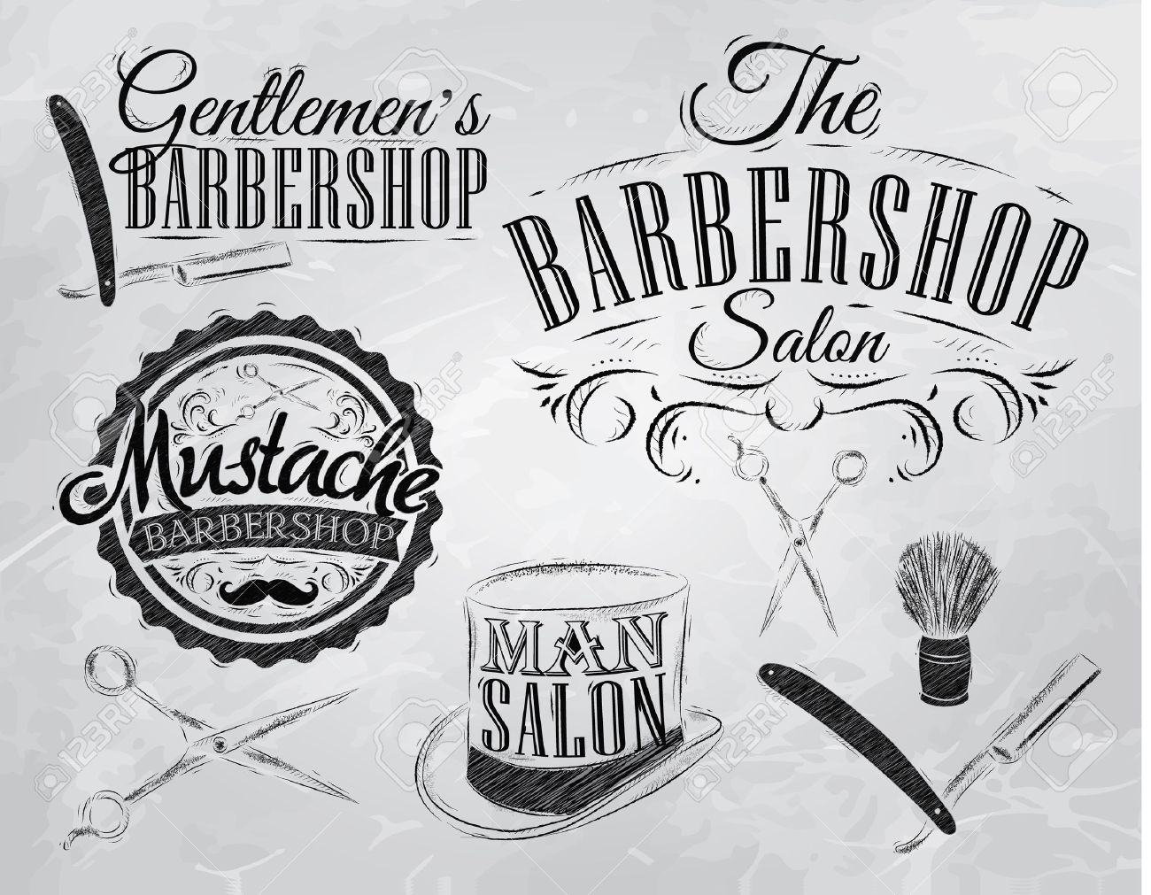 Set Barbershop, scissors, shaving brush, razor, cylinder, in a retro style and stylized for the drawing with coal Stock Vector - 25657456