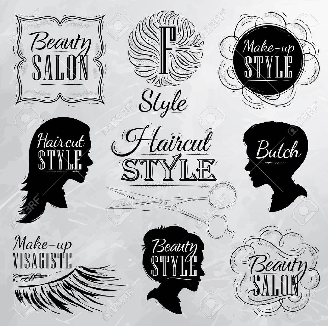 Set Beauty Salon Side View In A Retro Style And Stylized For The Drawing With