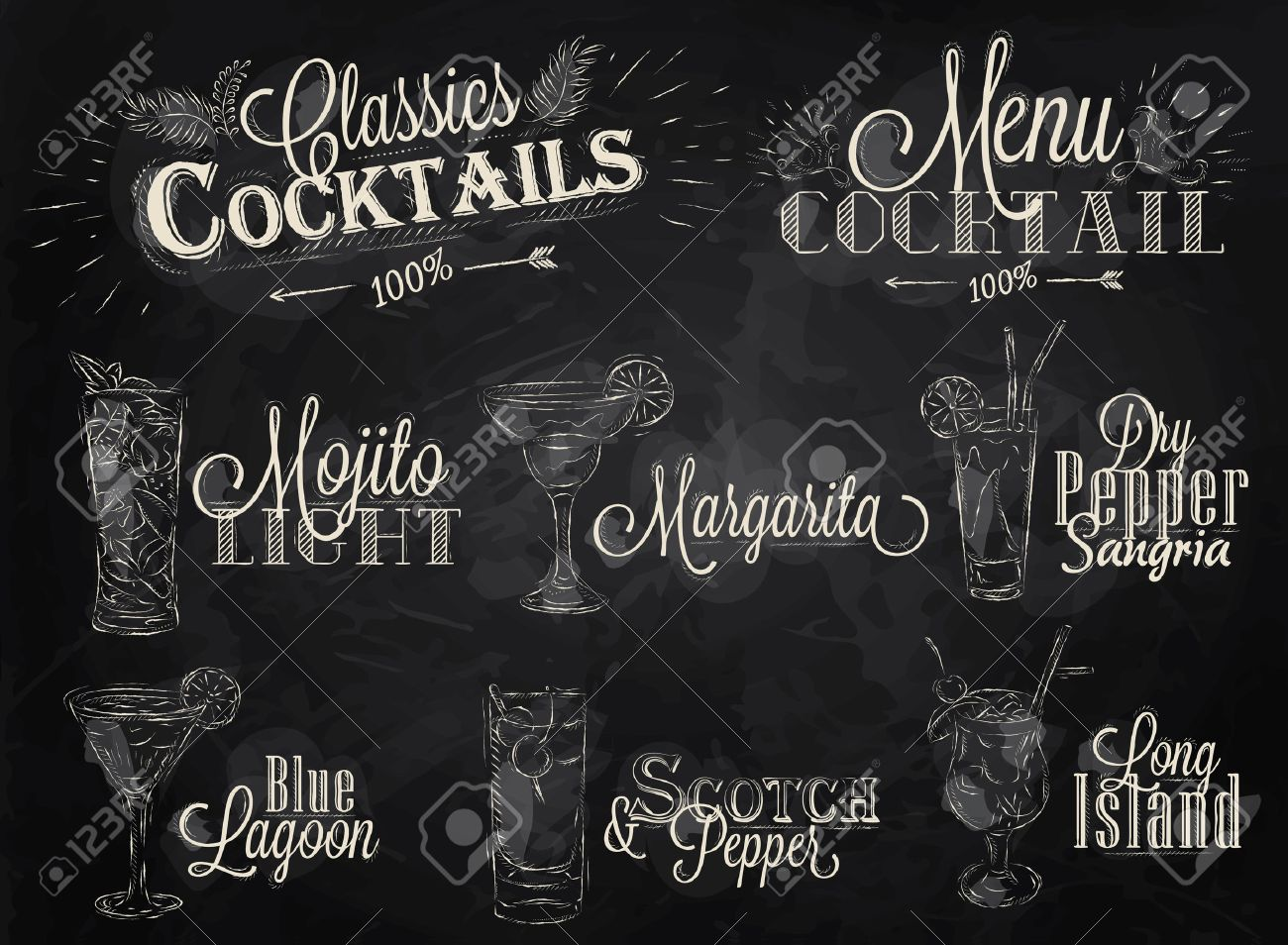 Set of cocktail menu in vintage style stylized drawing with chalk on blackboard, Cocktails with illustrated, the blue lagoon margarita Scotch - 25699859