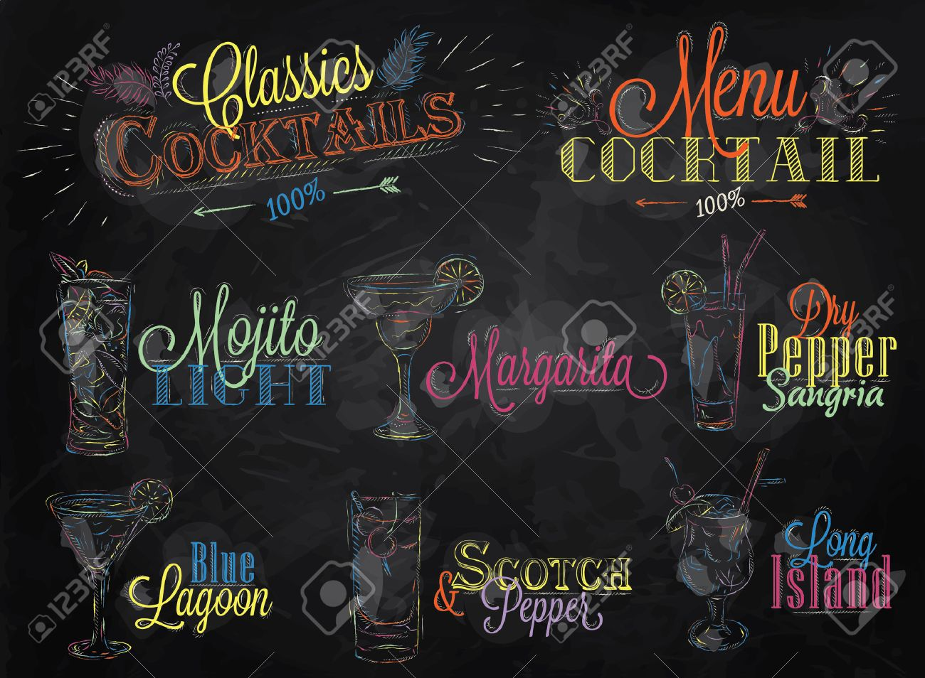 Set of cocktail menu in vintage style stylized drawing of colored chalk on a school blackboard, Cocktails with illustrated, the blue lagoon margarita Scotch Stock Vector - 25699860