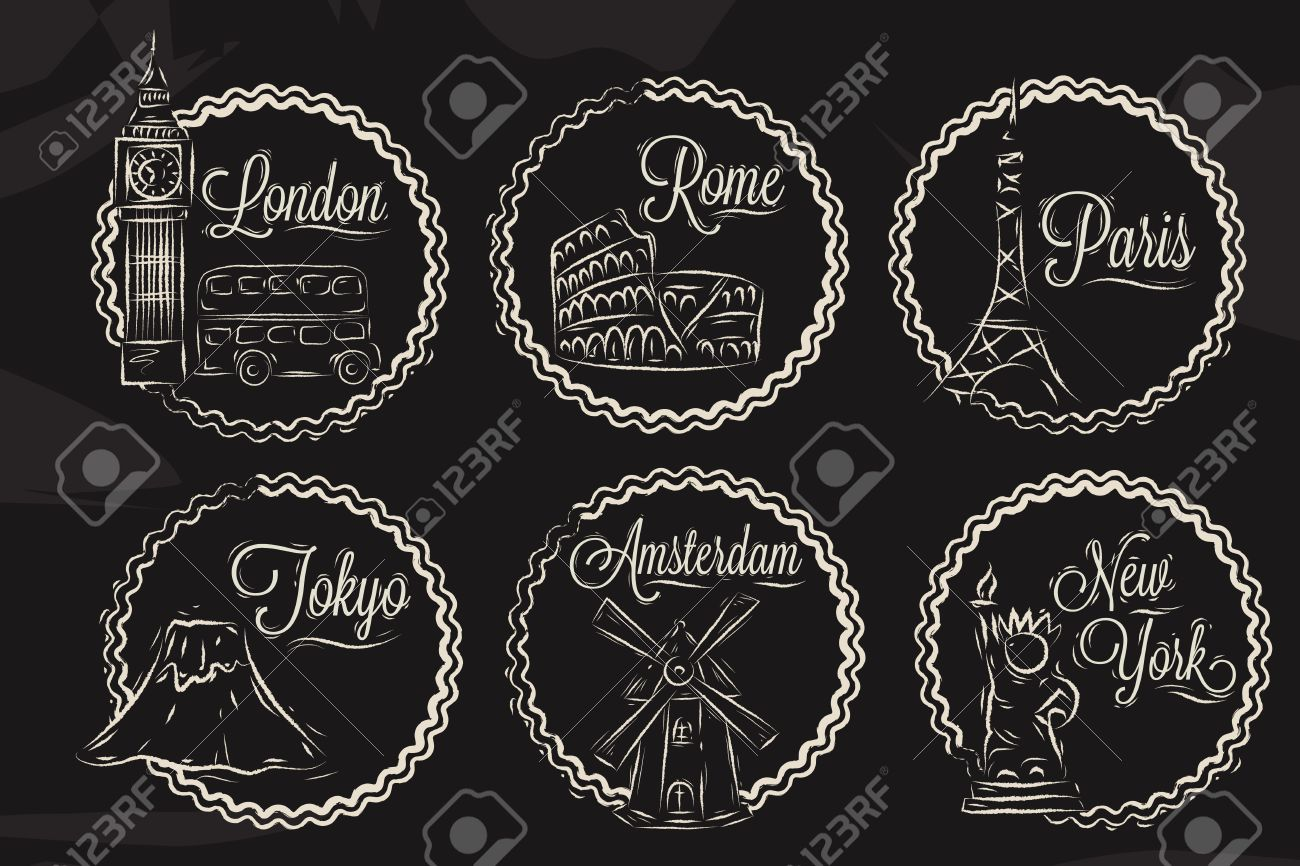 icons with world cities london new york rome amsterdam tokyo