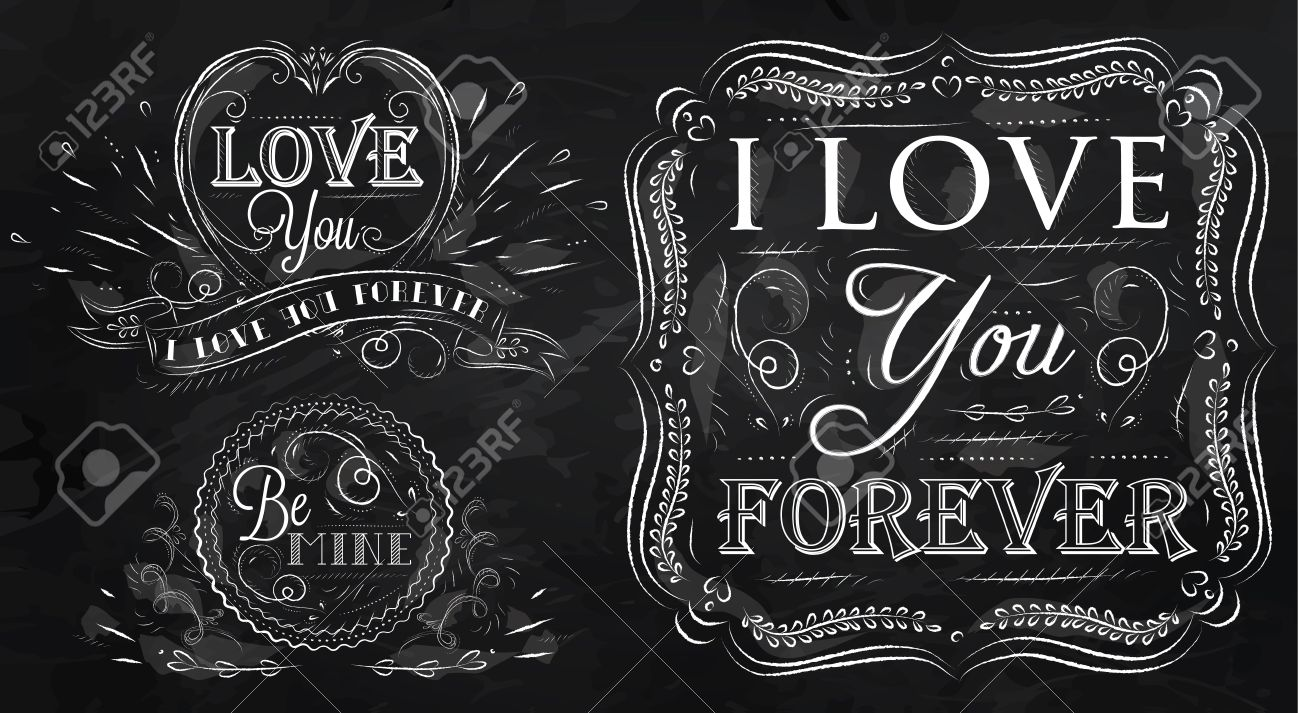 chalk design elements on themes of love stylized drawing with