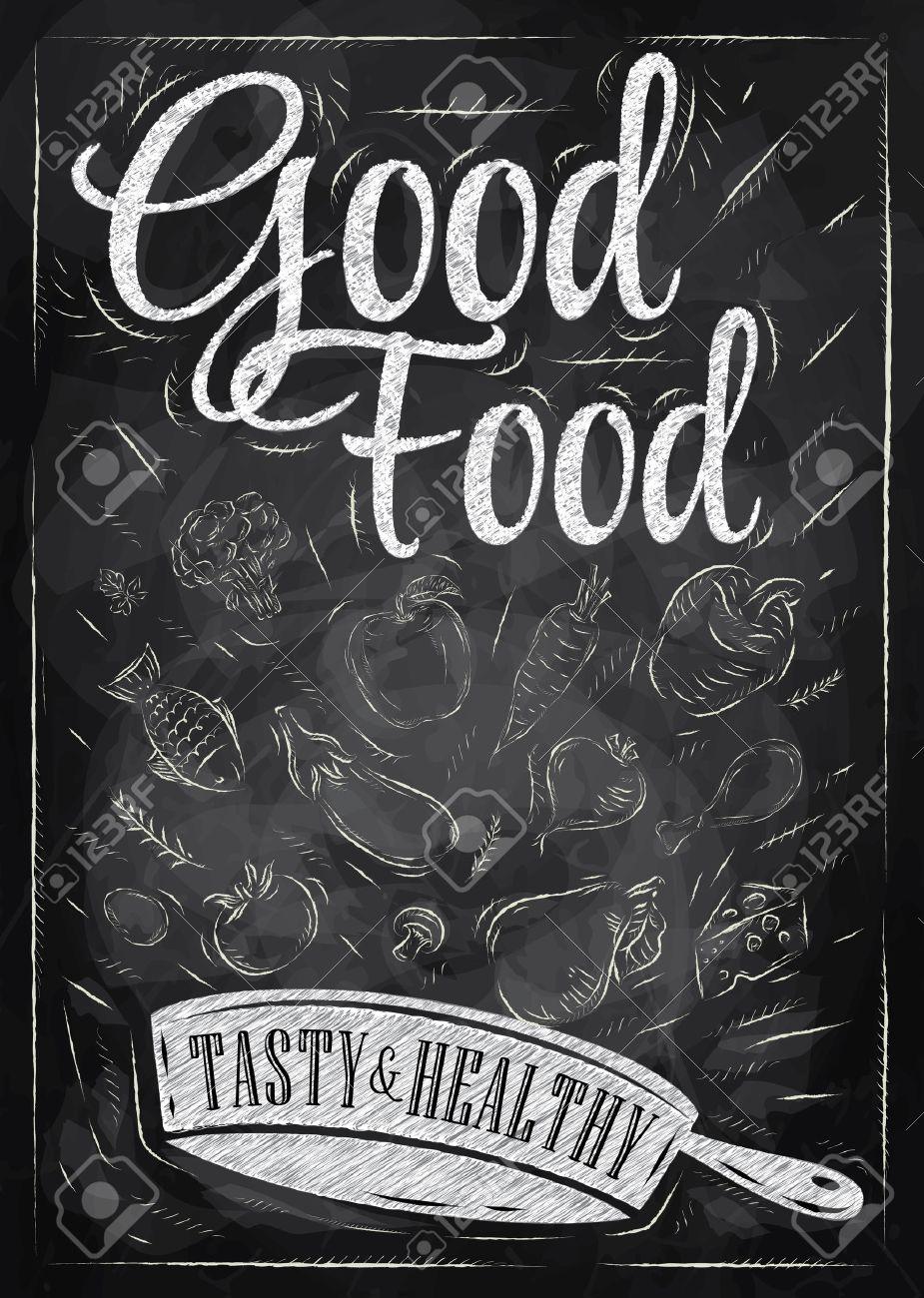 archivio fotografico poster buona cucina con padella in cui i prodotti volano disegno stilizzato con il gesso sulla lavagna
