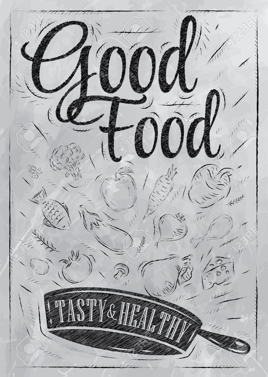 archivio fotografico poster buona cucina con padella in cui i prodotti volano disegno stilizzato con il carbone sulla lavagna