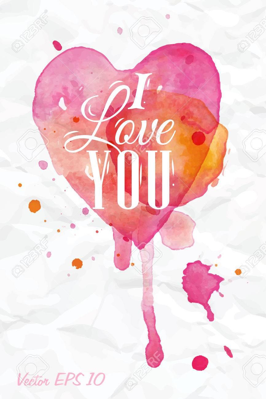 Letras Acuarela Del Corazón Día De San Valentín Te Amo En Color Rosa ...