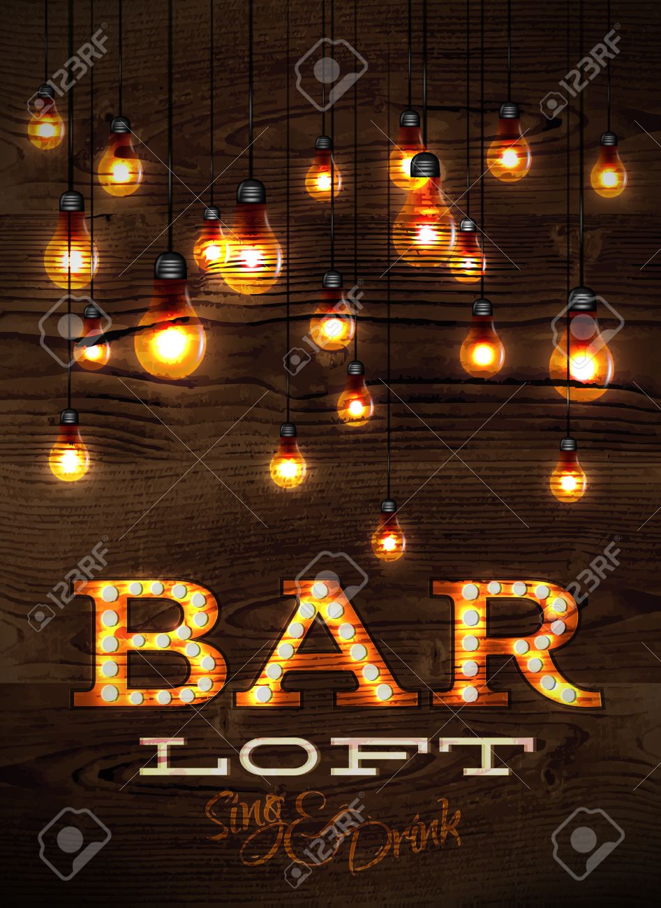 Vintage poster bar loft glowing lights on wood background in retro vintage poster bar loft glowing lights on wood background in retro styles 27457985 mozeypictures Image collections