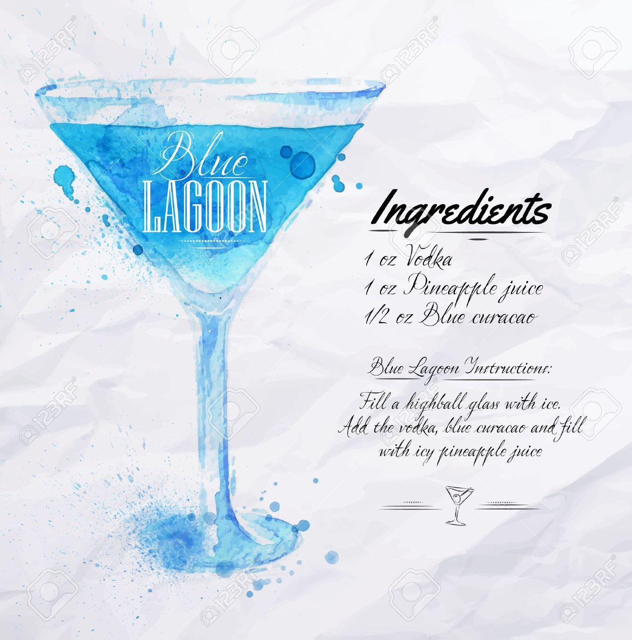 Blue lagoon cocktail rezept  Blue Lagoon Cocktails Aquarellflecken Und Flecken Gezeichnet Mit ...