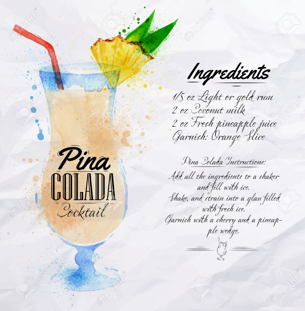 Pina Colada Cocktails, Gezeichnet Aquarellflecken Und Flecken Mit ...