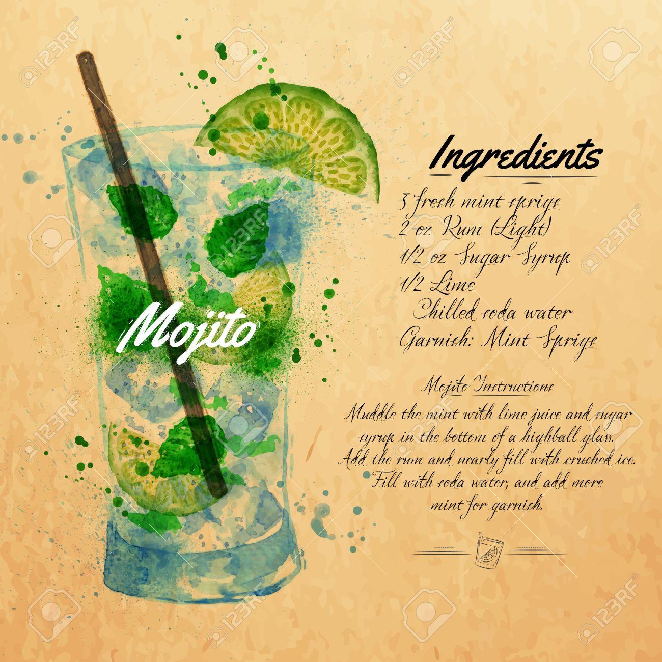 Wunderschön Rezept Mojito Cocktail Ideen Von Cocktails Aquarellflecken Und Flecken Mit Einem Spray,