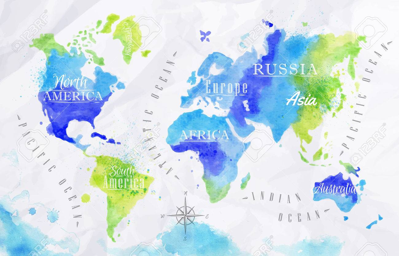 Watercolor world map green blue royalty free cliparts vectors and vector watercolor world map green blue gumiabroncs Image collections