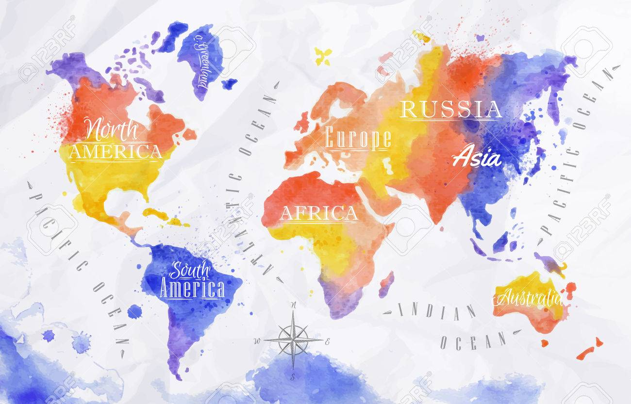 Watercolor world map red purple royalty free cliparts vectors and vector watercolor world map red purple gumiabroncs Gallery
