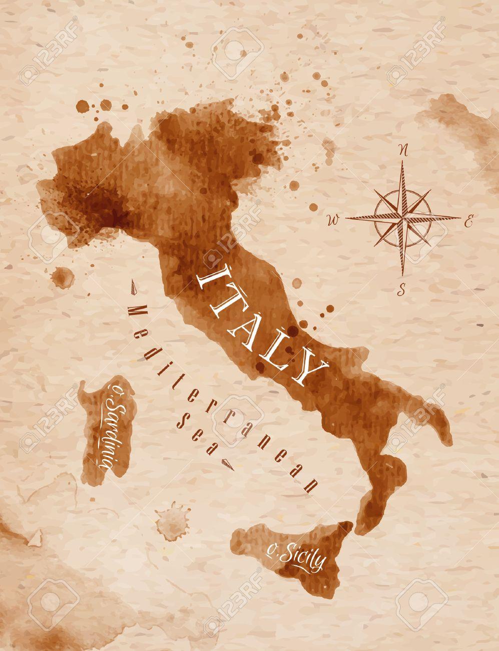 Map Italy retro - 32357387