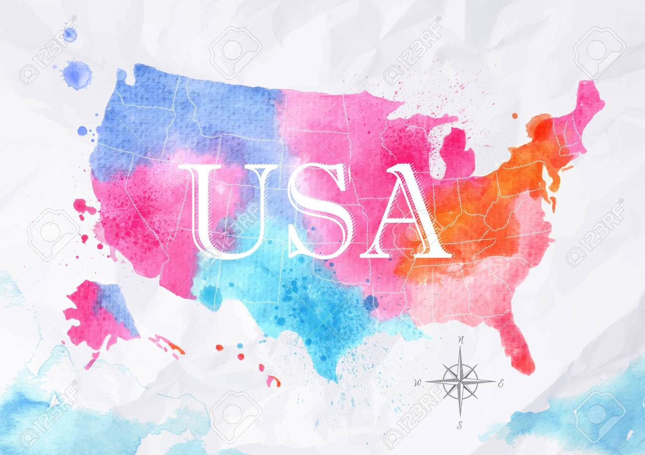 Watercolor Map United States Pink Blue Royalty Free Cliparts - United states watercolor map