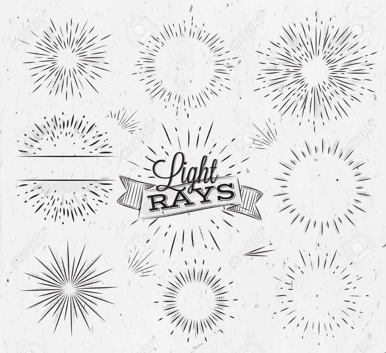 Set Light Ray In Vintage Style Stylized Drawing With Coal Royalty ... for Vector Light Rays Vintage  55nar