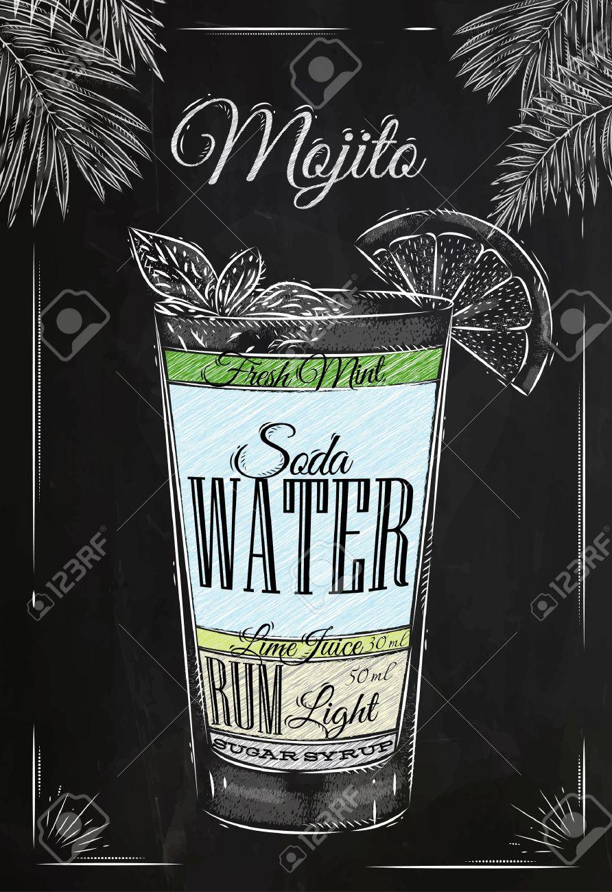 Dessin A La Craie mojito cocktail dans le style vintage stylisée dessin à la craie sur