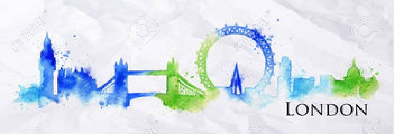 Silhouette London city painted with splashes of watercolor drops streaks landmarks with a blue-green colors - 37607082