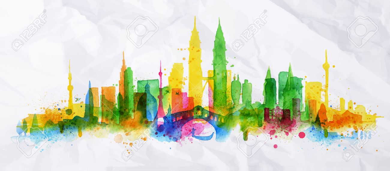 Silhouette overlay city painted with splashes of watercolor drops streaks landmarks with a yellow-green colors - 37776247