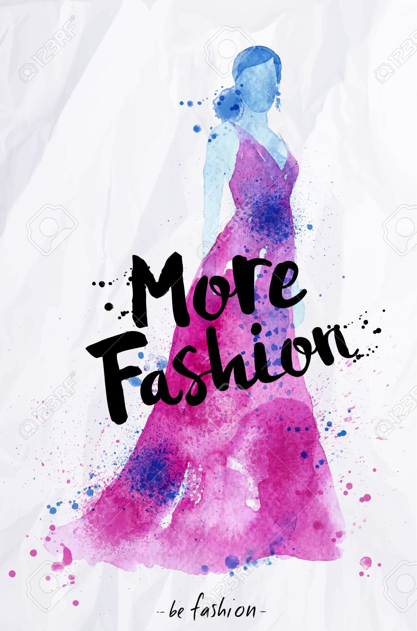 Poster design drawing - Watercolor Fashion Poster Lettering More Fashion Drawing In Vintage Style On Crumpled Paper Stock Vector