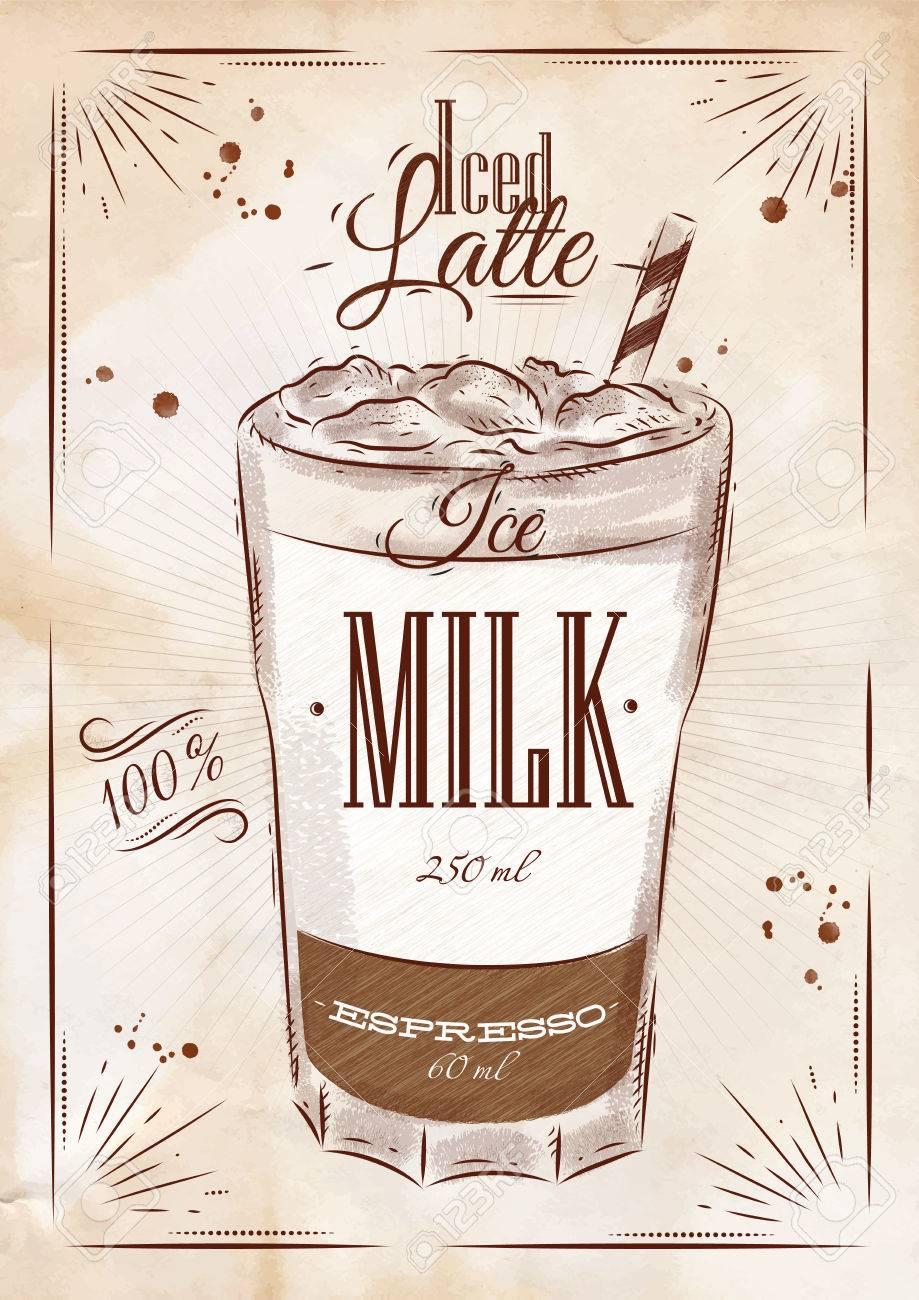 Préférence Café Affiche Latte Glacé Dans Le Dessin De Style Vintage Clip Art  BD05
