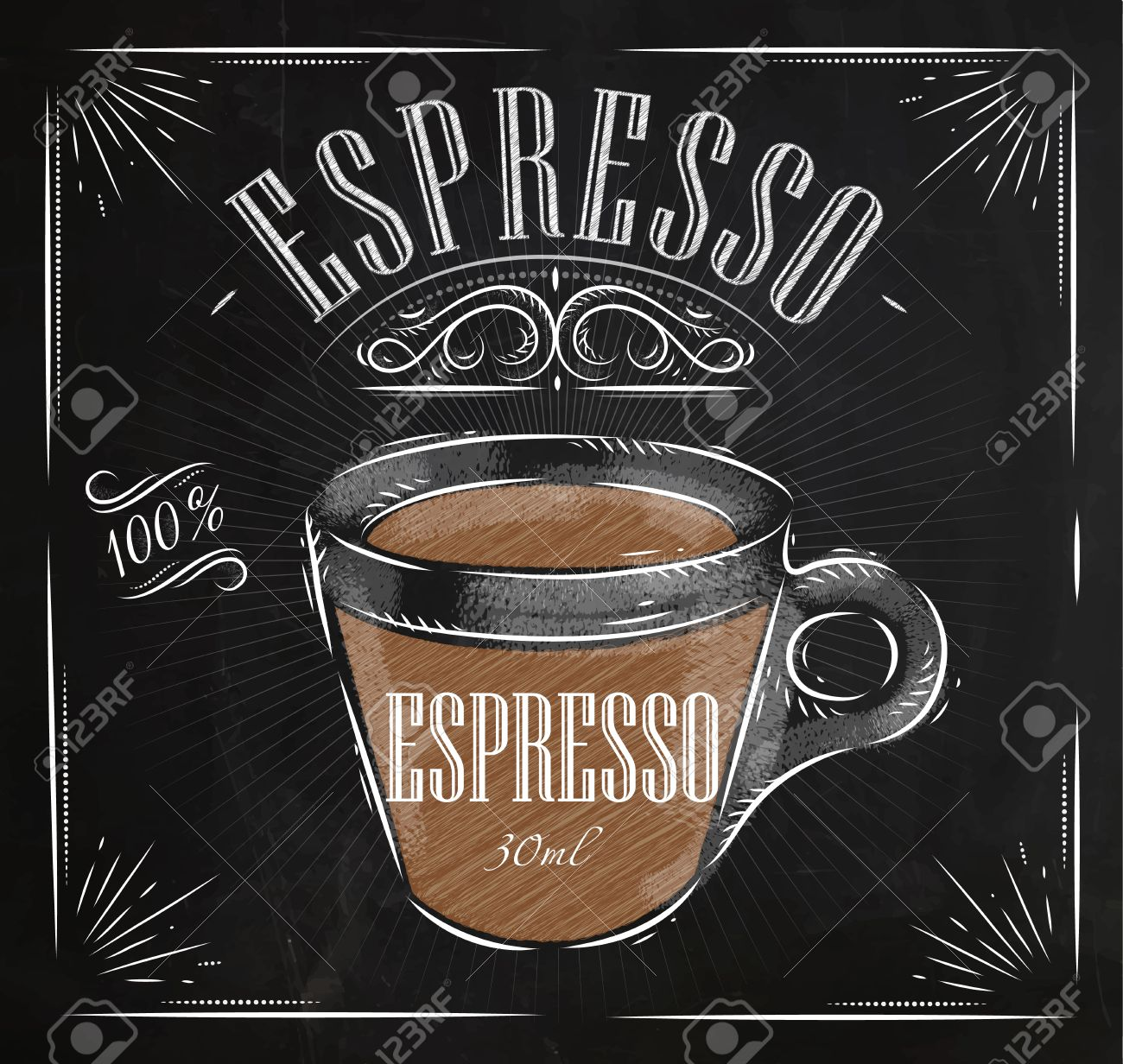Poster Coffee Espresso In Vintage Style Drawing With Chalk On ...