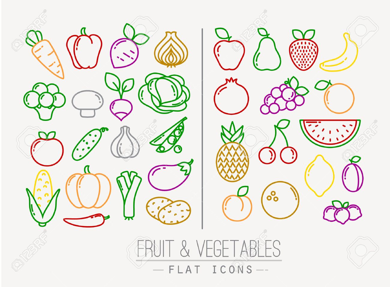 Set of flat fruits and vegetables icons drawing with color lines on white background - 44161262