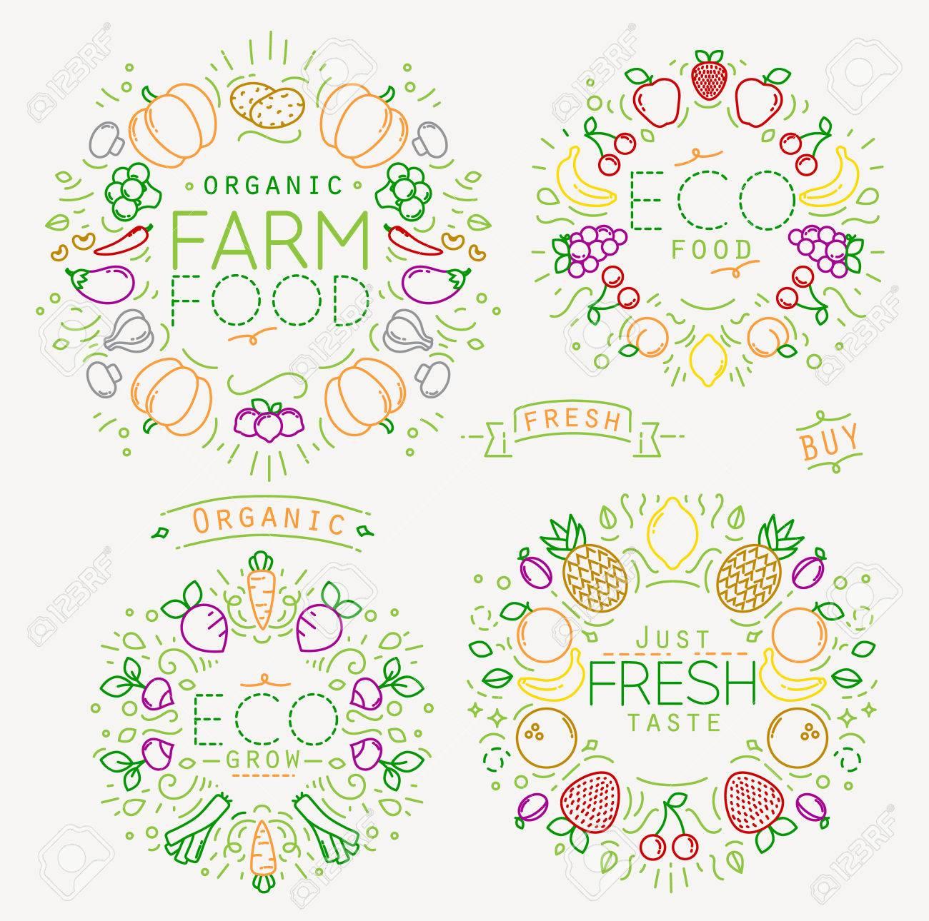 Ensemble De Fruits Et Légumes Plats Monogrammes Dessin Avec Des Lignes De Couleur Sur Fond Blanc