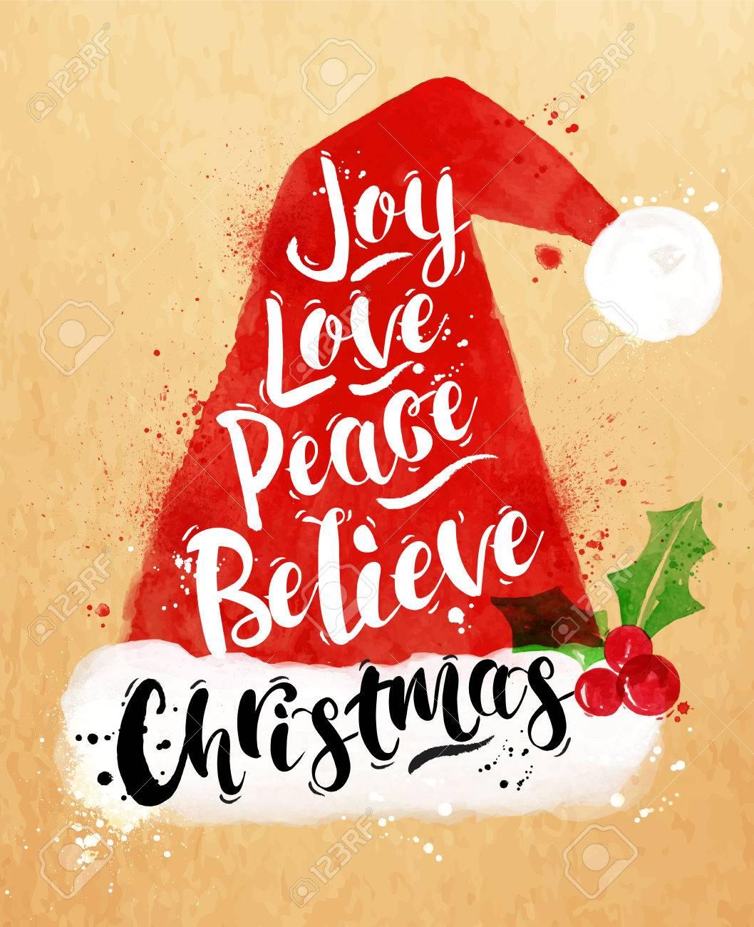 Watercolor poster Christmas Santa hat lettering joy, love, peace, believe, Christmas drawing in vintage style on kraft paper - 44161273