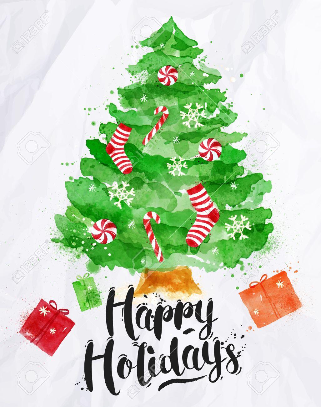 Cartel De La Acuarela Del árbol De Navidad Decorado Letras Felices Fiestas De Dibujo En El Estilo Vintage En El Papel Arrugado