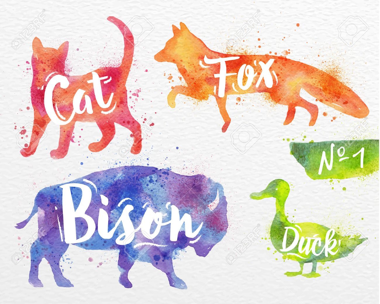 Drawingcolor Silhouettes Of Animal Cat Fox Bison Duck Drawing Color Paint