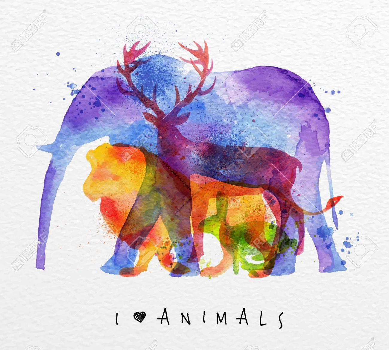 Color Animals ,elephant, Deer, Lion, Rabbit, Drawing Overprint ...