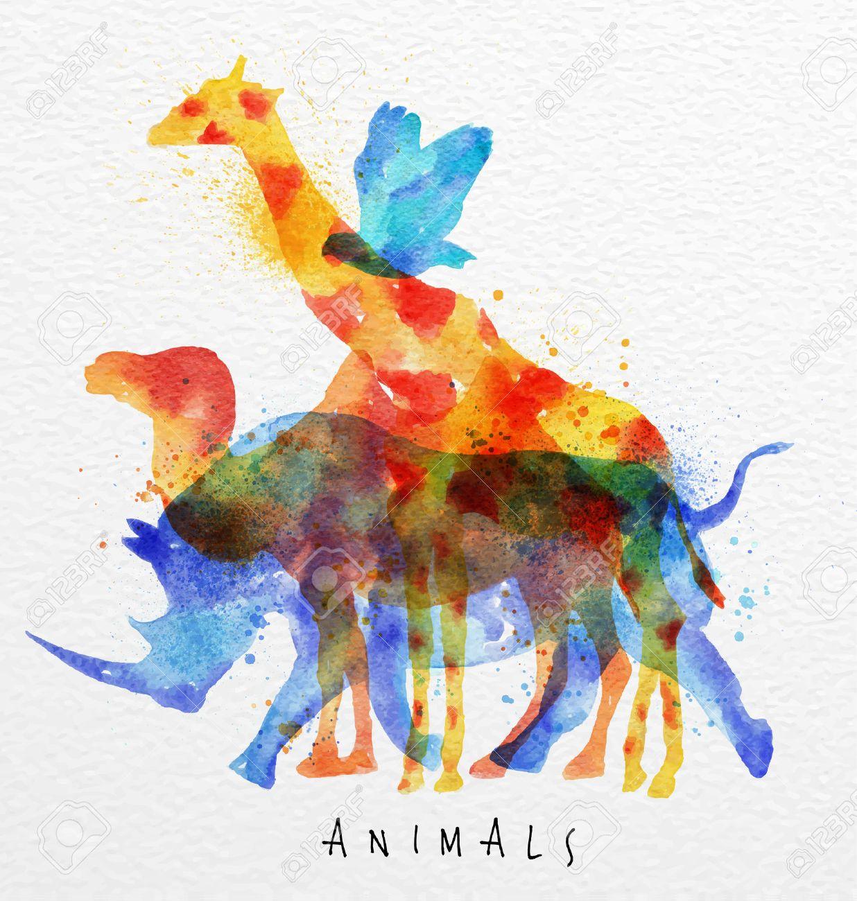 Color Animals ,bird, Rhino, Giraffe, Camel, Drawing Overprint ...