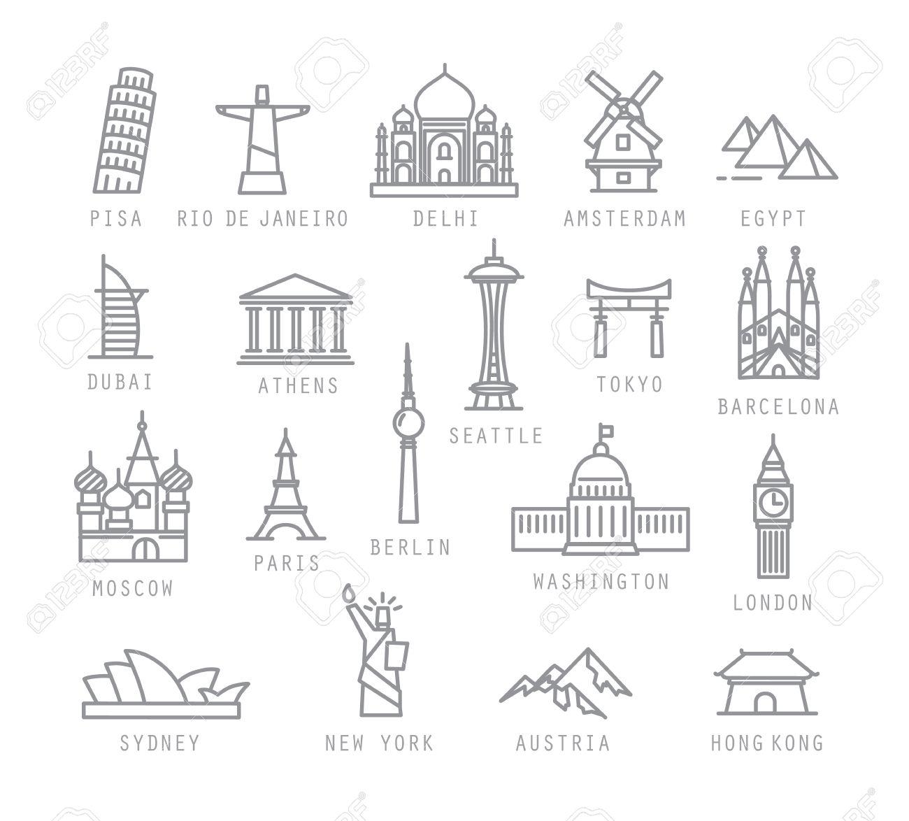 City icons in flat style with names Pisa, Rio, Delhi, Amsterdam, Dubai, Athens, Seattle, Tokyo, Barcelona, Berlin, Washington, Paris, London, Sydney, New York, Hong Kong - 48038968