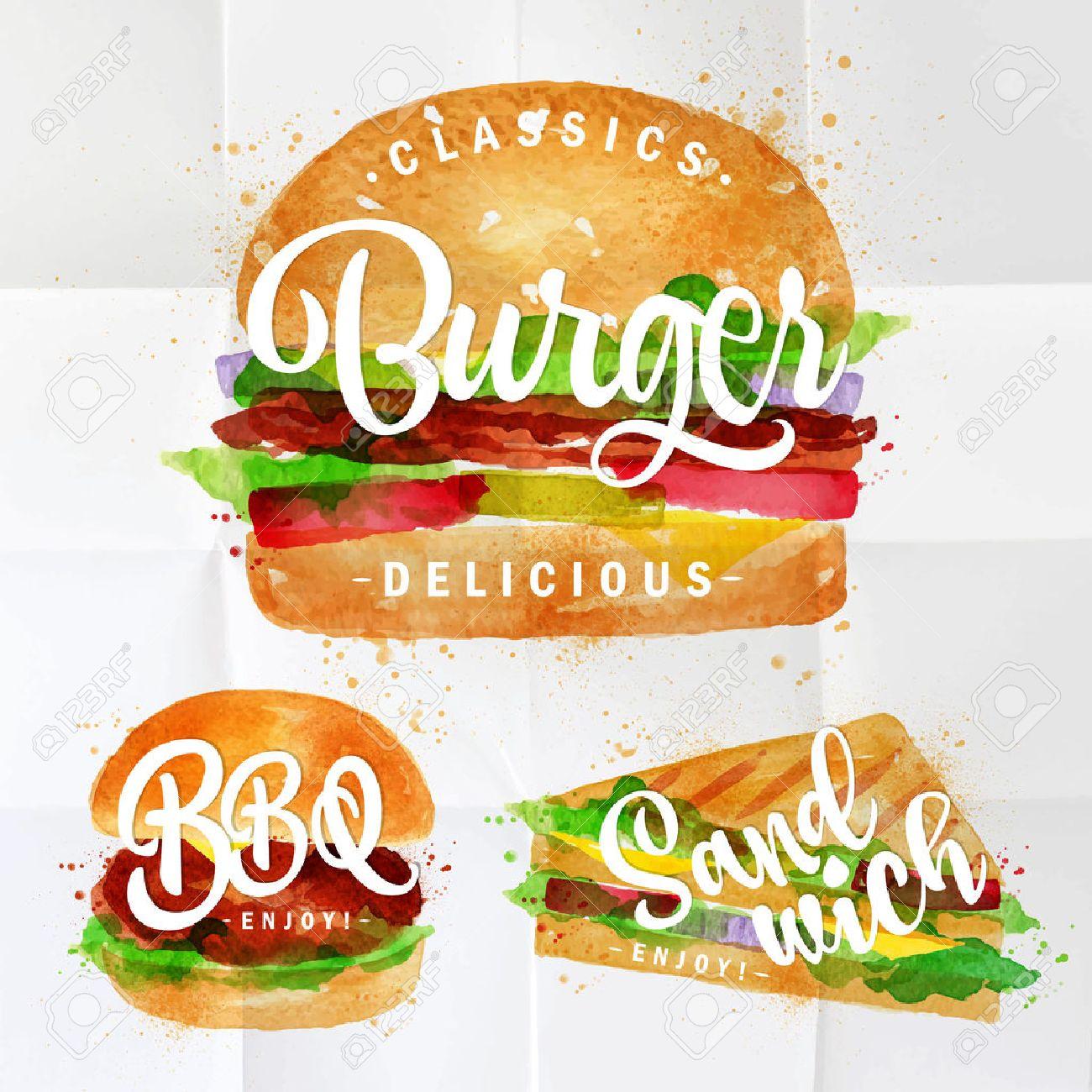 Ensemble De Hamburger Classique Bbq Hamburger Et Sandwich A Dessin