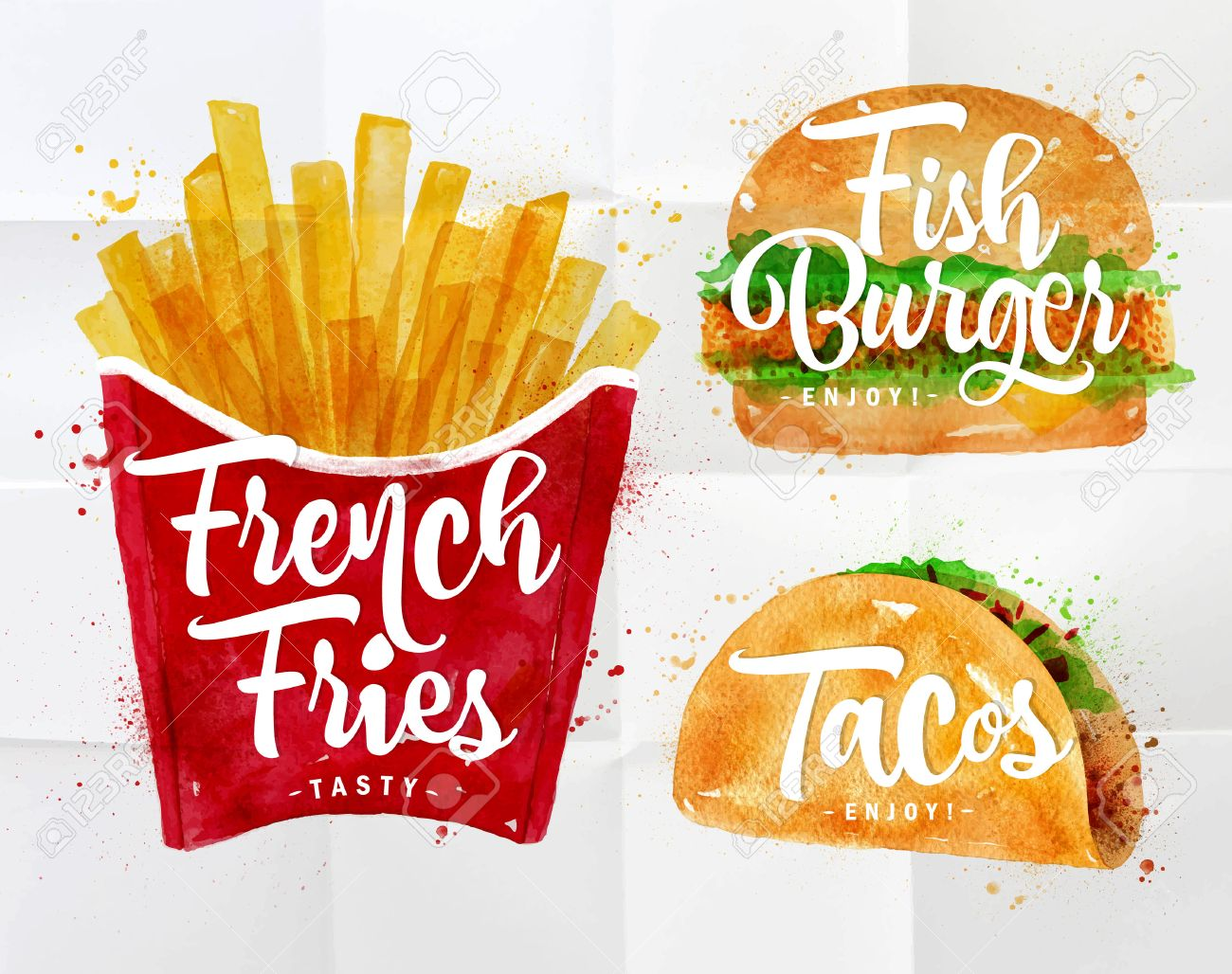 Set Of French Fries, Fish Burger And Tacos Drawing With Color ...