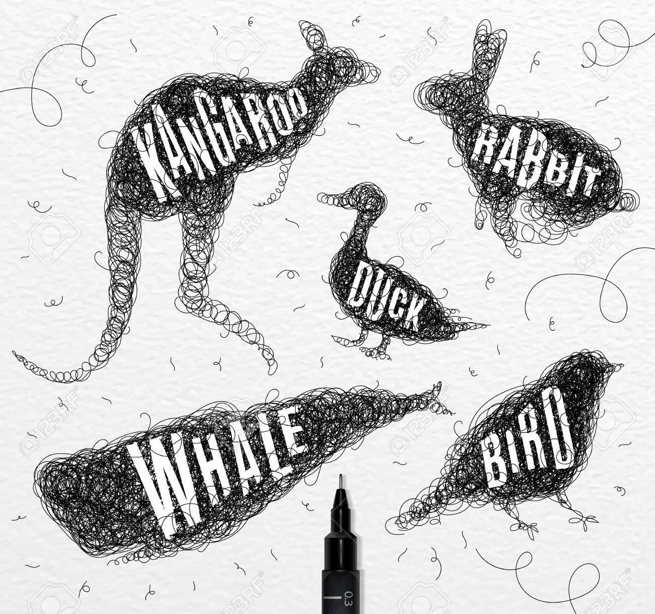 Pen Handzeichnung Gewirr Wilde Tiere Ente, Wale, Vögel, Kaninchen ...