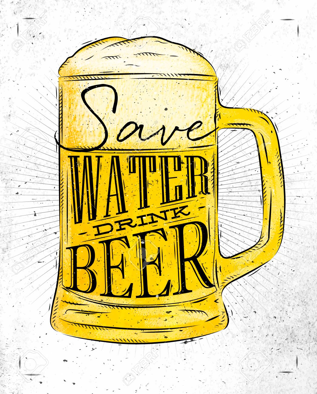 Poster beer glass lettering save water drink beer drawing in vintage style with coal on paper