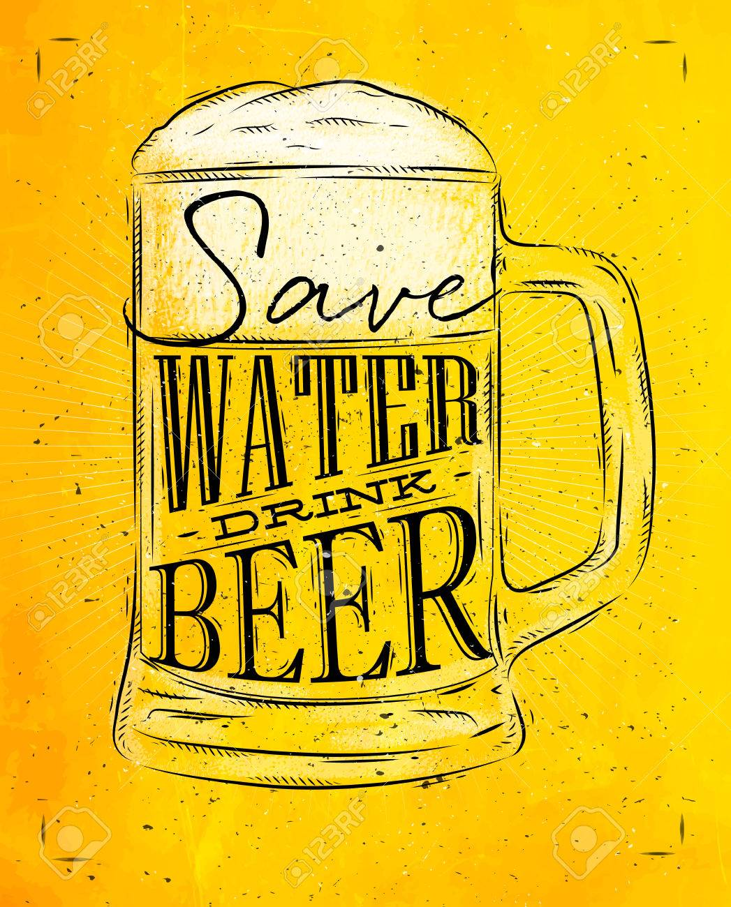 Poster beer glass lettering save water drink beer drawing in vintage style with coal on yellow