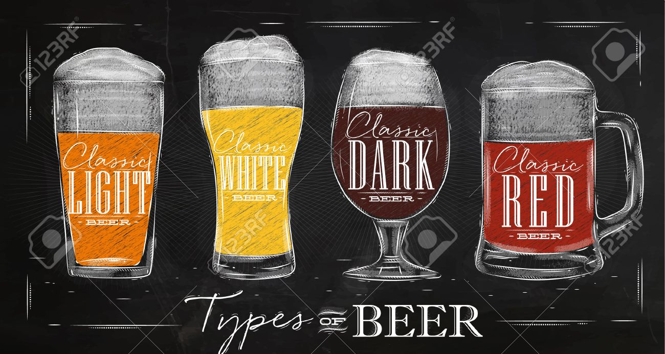 Poster beer types with four main types of beer lettering classic light beer, classic white beer, classic dark beer, classic red beer drawing with chalk in vintage style on chalkboard. - 52579485
