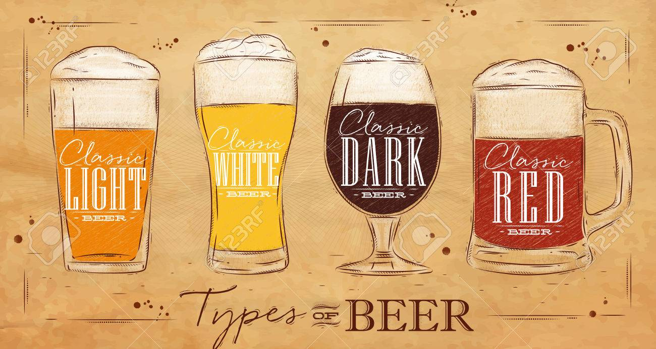 Poster beer types with four main types of beer lettering classic light beer, classic white beer, classic dark beer, classic red beer drawing in vintage style on background - 52579486