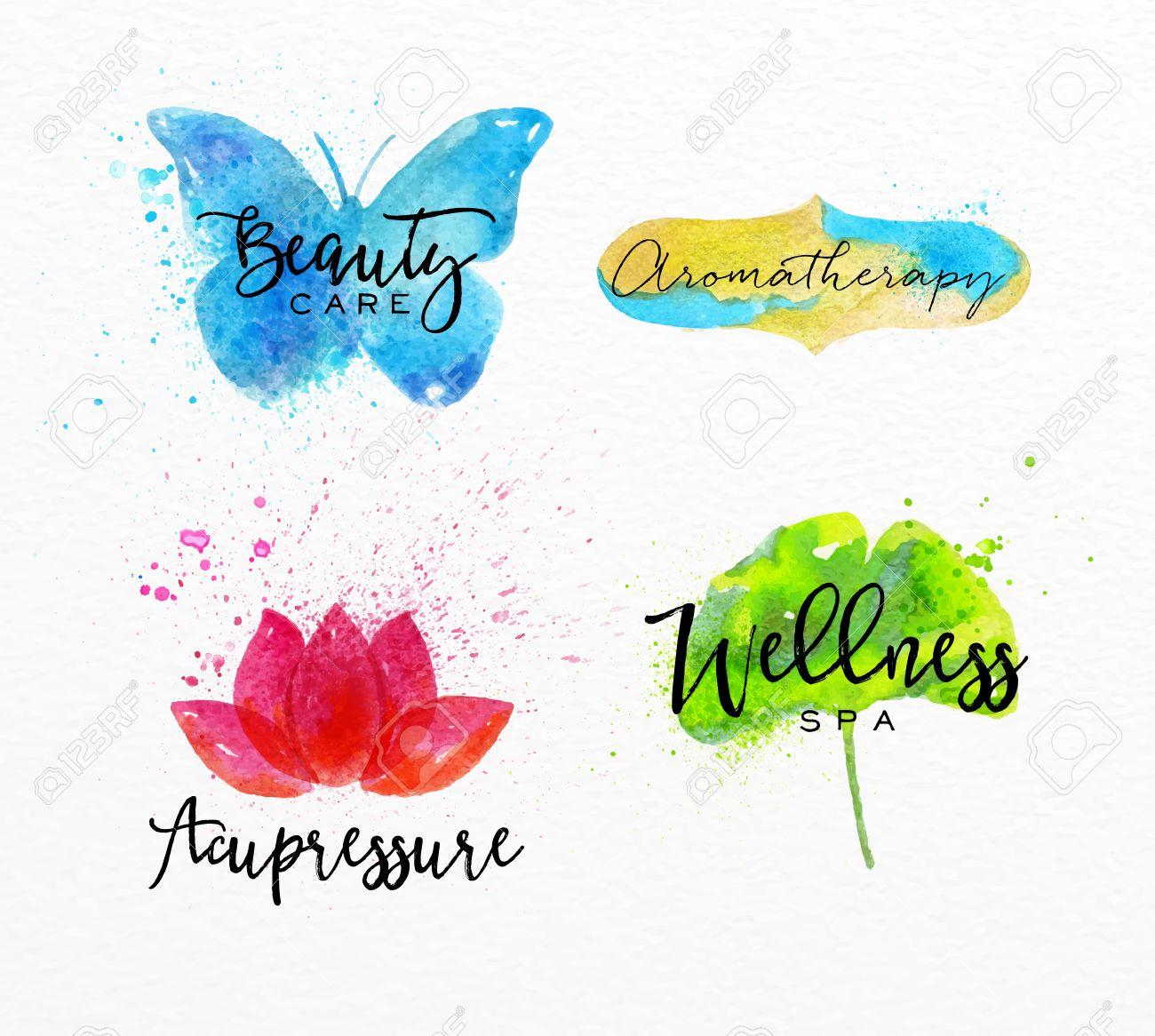 Symbols beauty natural spa drawing with watercolor symbol symbols beauty natural spa drawing with watercolor symbol butterfly lotus leaf label biocorpaavc Images