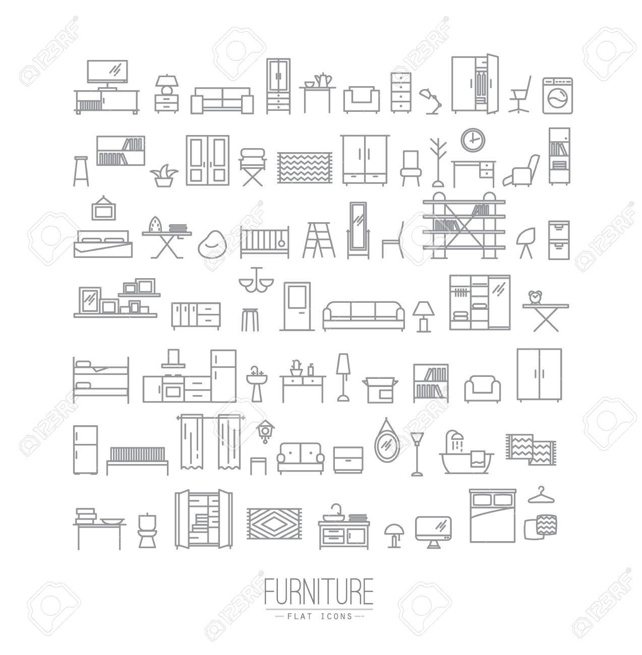 Furniture and home decor icon set in modern flat style drawing with grey lines on white background - 59360607