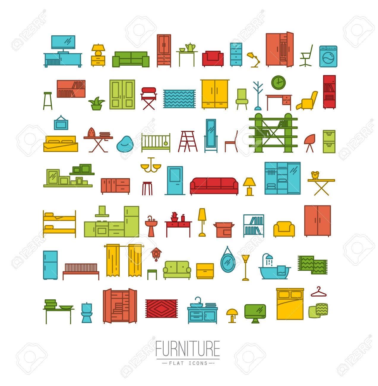 Meubles Et Décoration De La Maison Icon Set Dans Le Dessin De Style Appartement Moderne Avec Des Lignes De Couleur Sur Fond Blanc