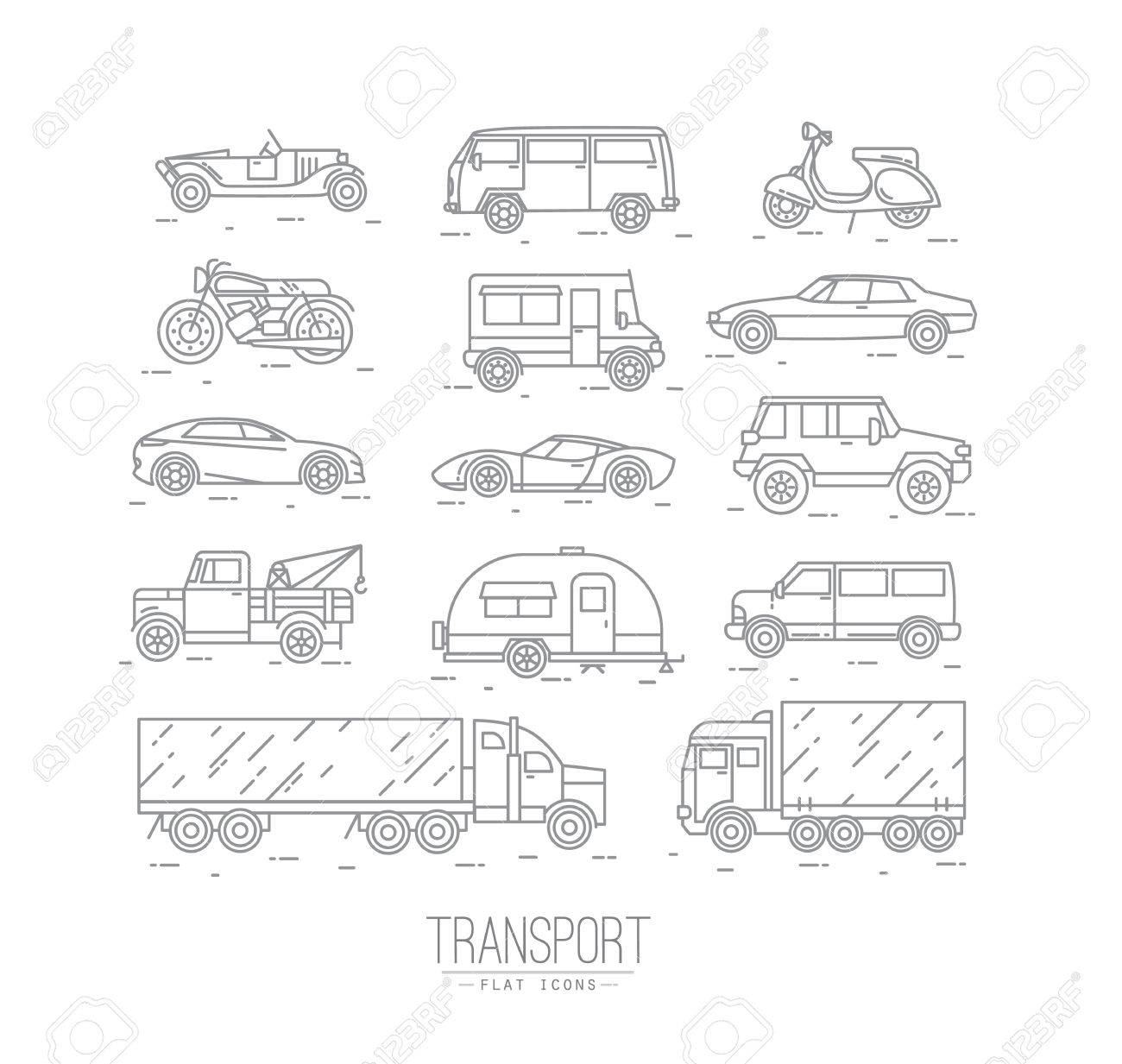 Set of transport icons in flat style car, moto, truck, scooter drawing with gray lines on white background - 59844548