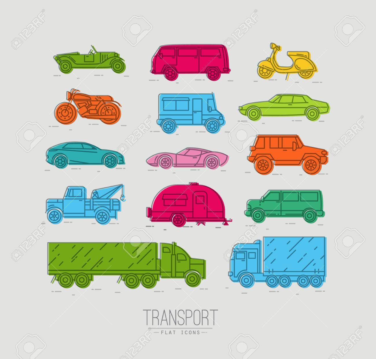 Set of transport icons in flat style car, moto, truck, scooter drawing with color on gray background - 59844545